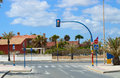 La manga street bend traffic light over the main in spain Stock Images