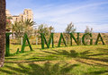 La manga tourist resort spain sign at the approach to on the mar menor murcia Royalty Free Stock Photo