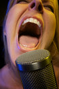 La mujer canta con la pasión Fotos de archivo
