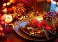La navidad holliday table setting Fotos de archivo libres de regalías