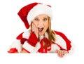 La navidad tarjeta de santa girl looking over white Foto de archivo libre de regalías