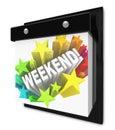 La palabra del fin de semana en la diversión del calendario de pared planea tiempo apagado Fotografía de archivo libre de regalías