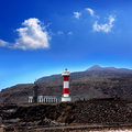 La Palma Fuencaliente lighthouse in saltworks Royalty Free Stock Image