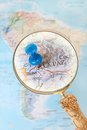 La paz bolivia blue tack on map of south america with magnifying glass looking in on Royalty Free Stock Images