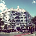 La pedrera house designed by antonio gaudi in barcelona spain the building is covered by a sheet as it is refreshed Stock Photography