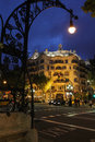 La pedrera at night famous building by antoni gaudi by Stock Photography