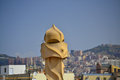 La pedrera phantoms in barcelona the sculpture on the roof of building Royalty Free Stock Images