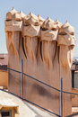 La pedrera phantoms in barcelona the sculpture on the roof of building from antoni gaudi architect passeig de gracia downtown Stock Image