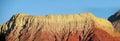 La pollera de la coya, red mountain at sunset Royalty Free Stock Photo