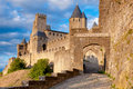 La porte de aude at late afternoon in carcassonne france Stock Image