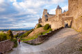 La porte de aude and street in carcassonne at late afternoon france Royalty Free Stock Photography