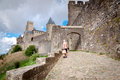 La porte de aude with tourist at carcassonne in france Royalty Free Stock Photo