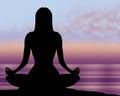 La posa di yoga mostra zen and healthy pacifico Fotografia Stock Libera da Diritti