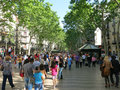 La rambla in barcelona the popular street spain Royalty Free Stock Images