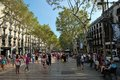 La rambla barcelona the street is bustling with crowds of tourists and locals the high street is famous for shopping eating and Stock Photos