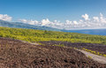 La Reunion island coastal road and lava field Royalty Free Stock Images