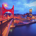 La salve bridge and the guggenheim museum bilbao night view of in biscay basque country spain Stock Photo