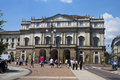 La scala milano july tourists in font of famous on july at milano italy opera house was inaugurated on august Stock Images