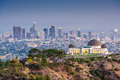 La skyline los angeles california usa downtown from griffith park Royalty Free Stock Photos