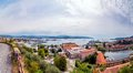 La spezia city and gulf in liguria italy july panoramic day view of of poets is one of the main italian military Stock Photography