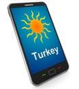 La turquie sur le mobile signifie les vacances et le sunny weather Photo libre de droits