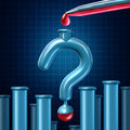 Lab test questions and medical research uncertainty as a science laboratory glass tube shaped as a question mark with red liquid Royalty Free Stock Image