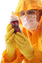 Lab worker examining a bottle Stock Image