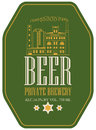 Label for beer with image of brewery building