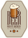 Label for beer in retro style with glass of beer