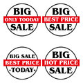 Label big sale set of four labels for various sales promotions Royalty Free Stock Photography