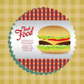Label burger burgerover tableclothes background vector illustration Stock Photo