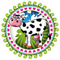 Label with comic cow. Royalty Free Stock Image