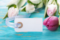 Label with copy space and tulips in the background Royalty Free Stock Image