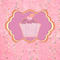 Label with cupcake on pink with polka dots. EPS 8 Stock Photography