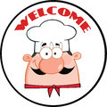 Label de cercle de man face cartoon de chef Photo stock