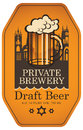 Label for draft beer with beer glass and old town