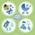 Label with elements for Asian newborn baby boy Royalty Free Stock Photo