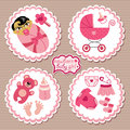 Label with elements for asian newborn baby girl a set of cute cartoon cartoon icons scrapbooking in strips Royalty Free Stock Images