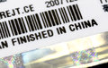 A label with finish in china title macro view of Royalty Free Stock Image