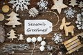 Label, Frame Of Christmas Decoration, Text Seasons Greetings, Snowflakes Royalty Free Stock Photo