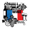 Label french wine stamp or with words Stock Image