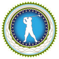Label with golf player. Royalty Free Stock Image