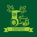 Label with green leaves on the tractor.