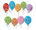 Label happy hours with inscription in color balls Royalty Free Stock Photos