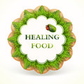 Label with healing food vector illustration Royalty Free Stock Image
