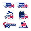 Label icon shipping and delivery collection set. van delivery car vector illustration isolated on white background. fast free