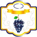Label for jam grape, sweet fruit on packing, a label for wine, an emblem for cookery of grapes, a decorative element Royalty Free Stock Photo