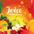 Label for juice with different fruits and berries
