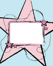 Label with Large Pink Star Royalty Free Stock Photo