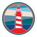 Label with lighthouse color illustration Stock Photography
